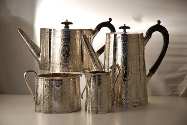& An Engraved Victorian Silver Plate Tea Set c1860