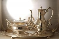A Victorian Four Piece Teaset and Tray c1870