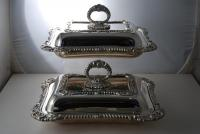 A Pair of Silver Plate Regency Style Entree Dishes c1900