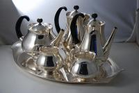 A Post War Silver Tea Set on Tray by Eric Clements