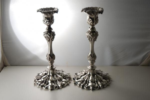 A set of Elkington Victorian candlesticks c1860