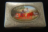 A Fine German Silver Table Snuff Box with Enamel Scene
