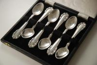 A Sterling Cutlery Set of Georg Jensen Silver Tea Spoons: Lily of the Valley