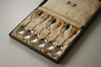 A Silver Cutlery Set of Coffee Bean Tea Spoons by Liberty and Co