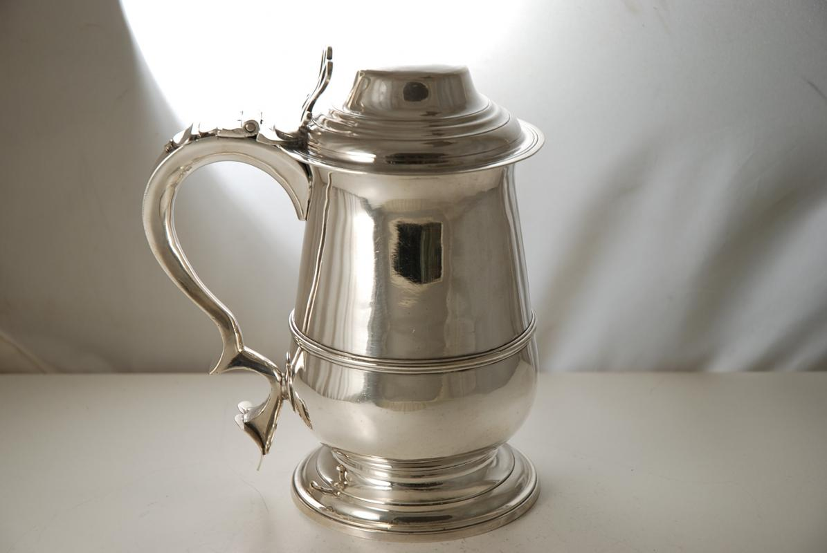 A Hester Bateman silver tankard made in the Georgian period