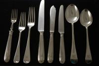 A Silver Plate Flatware Set for 6: Old English Pattern silverware
