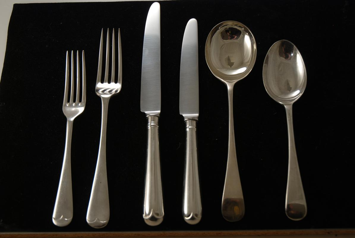 A Silver Plated Flatware Set In The Old English Pattern