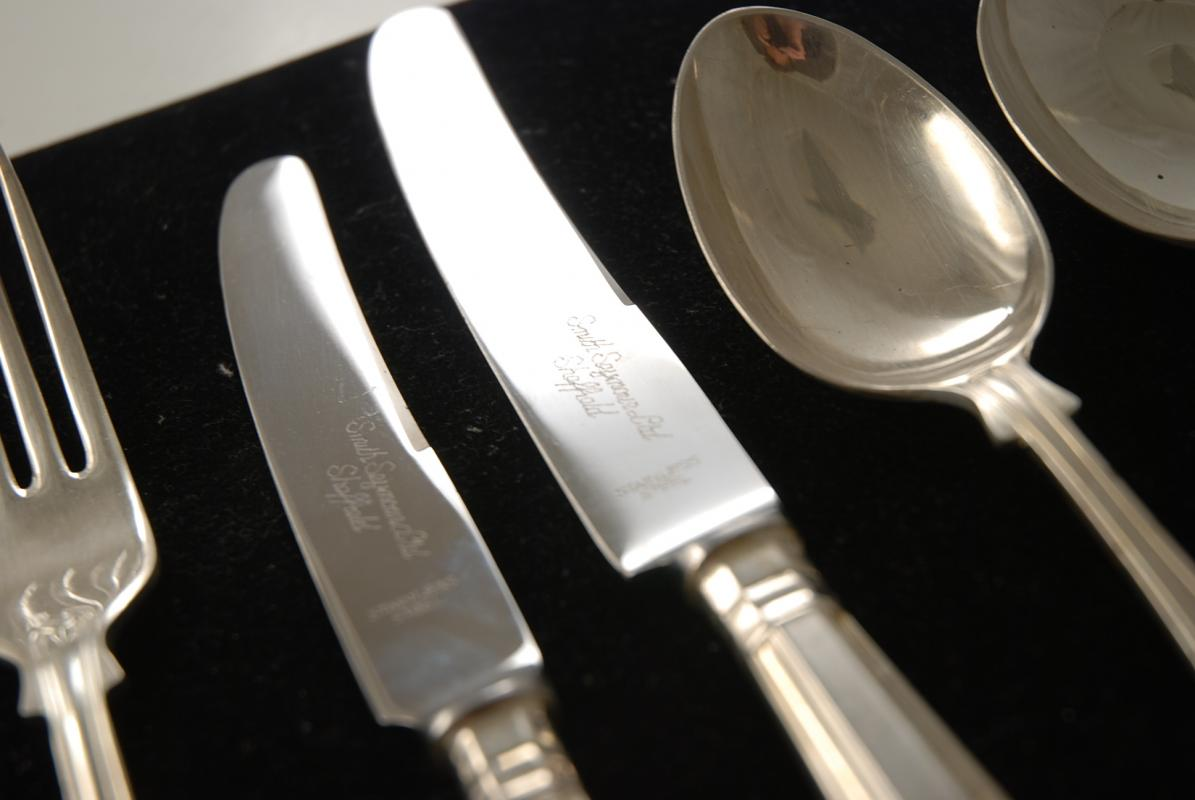 & A Silver Plate Flatware Set in the Kings Pattern