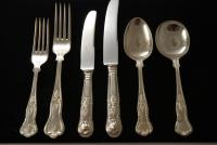 A Silver Plate Flatware Set in the Kings Pattern