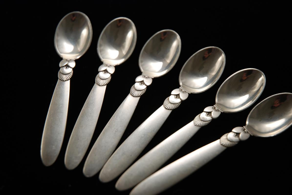 a georg jensen silver set of cactus pattern coffee spoons. Black Bedroom Furniture Sets. Home Design Ideas