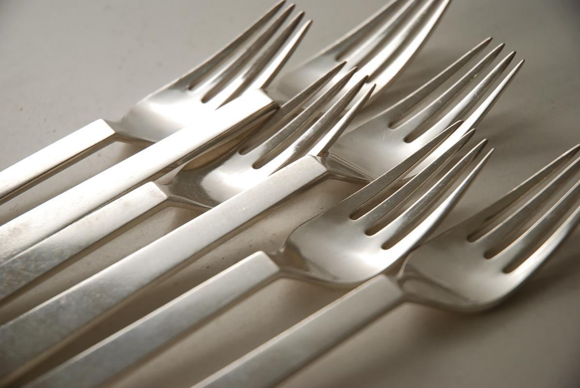 6 pyramid pattern georg jensen silver forks. Black Bedroom Furniture Sets. Home Design Ideas