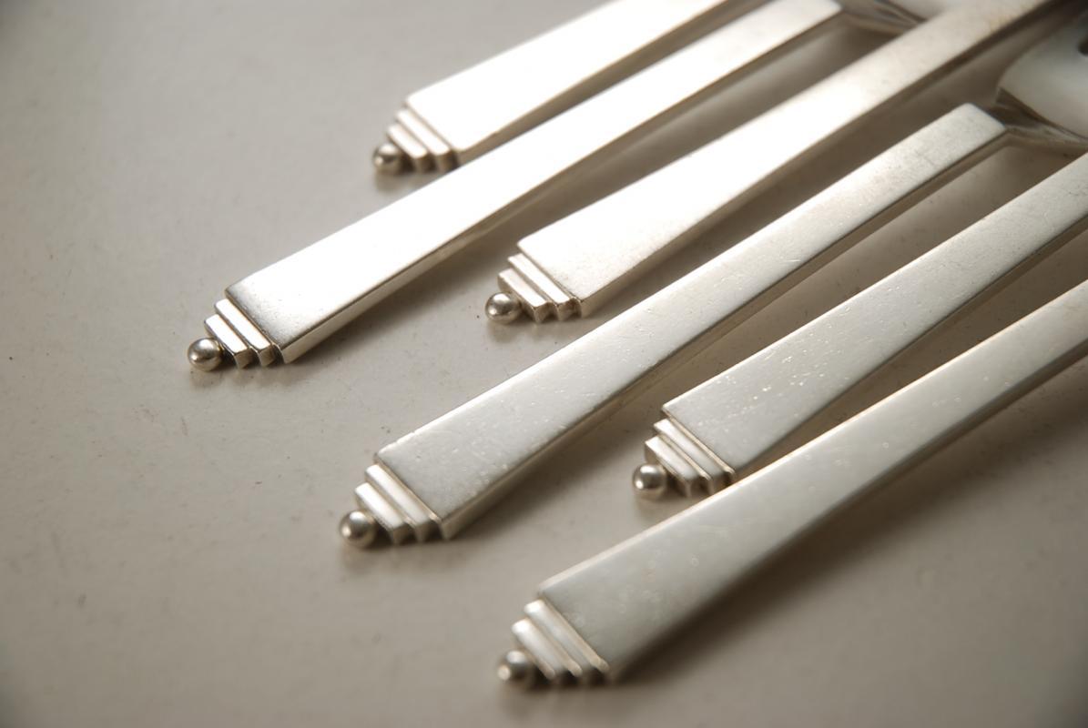 6 georg jensen sterling dessert forks pyramid pattern. Black Bedroom Furniture Sets. Home Design Ideas