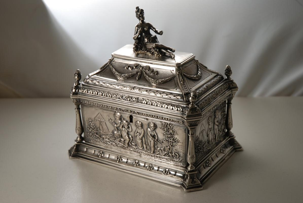 A Sterling Silver Jewellery Box or Casket