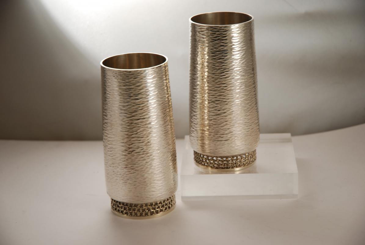 A Pair of Post War Silver Beakers by Stuart Devlin