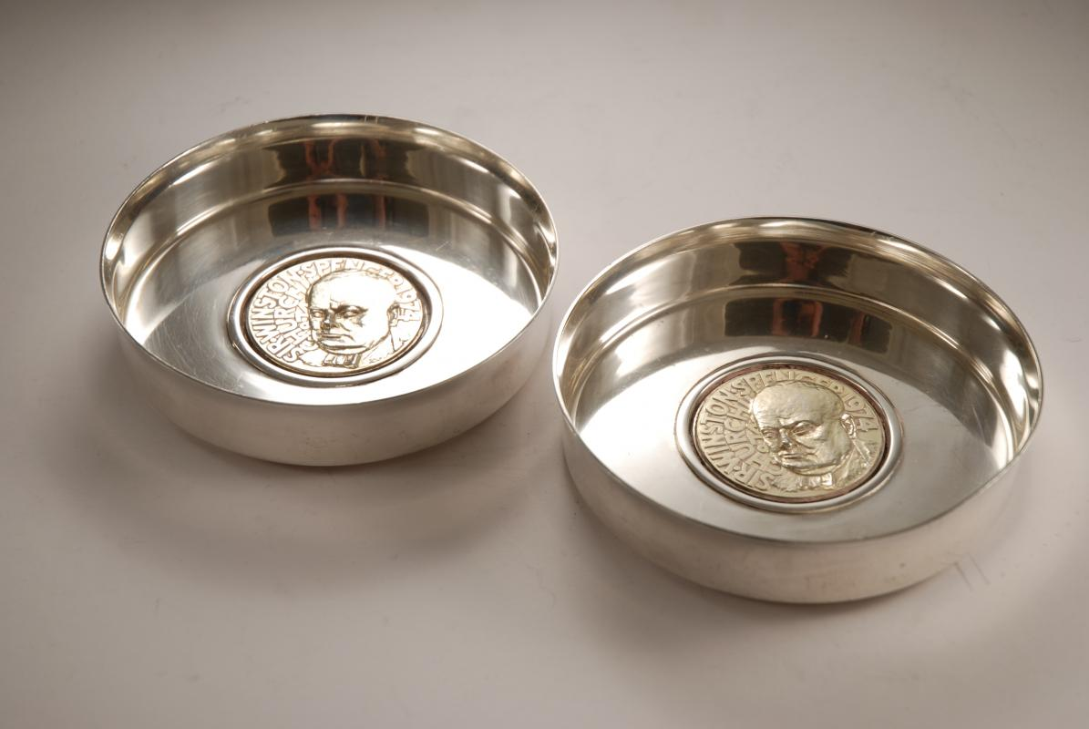 A Pair of Post War Silver Wine Coasters by Garrard and Alex Styles