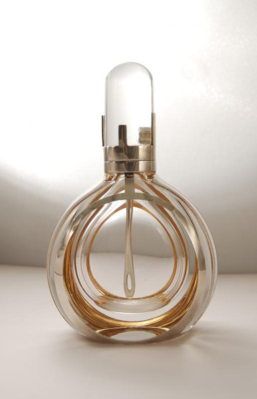 A Modernist Sterling Silver and Hand Blown Glass Perfume Bottle