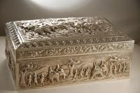 A Burmese Large Silver Cigar Box with Elephant Battle Scenes