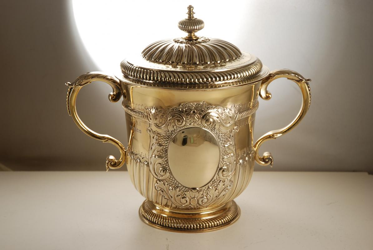 An Edwardian Silver Gilt Cup and Cover in the Queen Anne Style