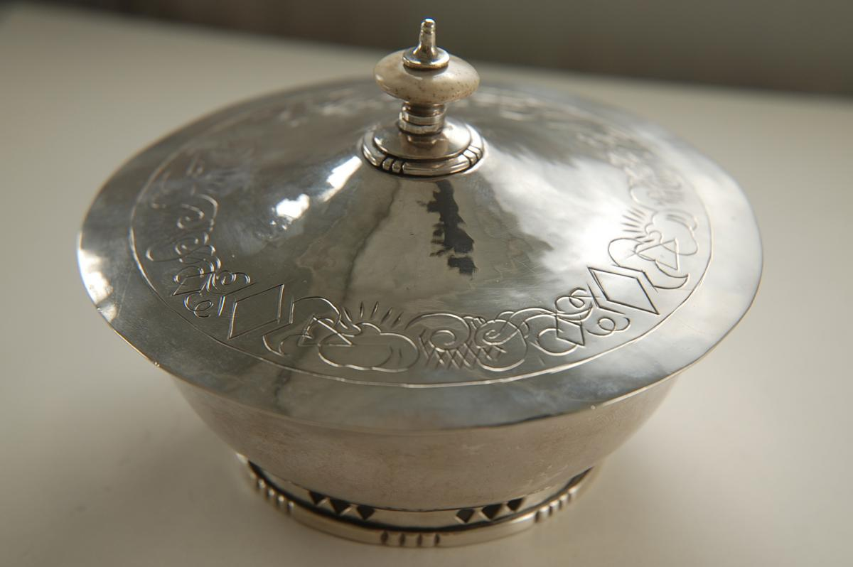 An Arts and Crafts Silver Covered Sugar Bowl