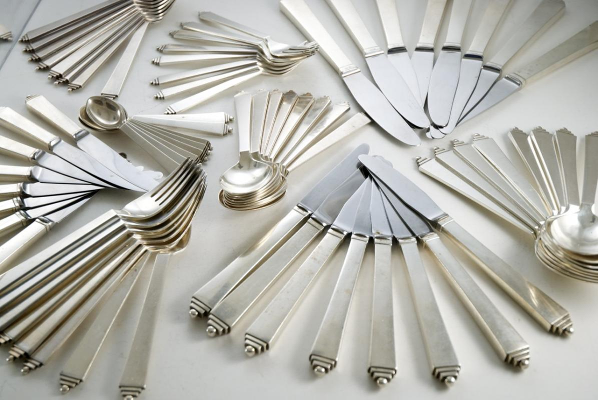 A Georg Jensen Silver Canteen Of Cutlery In The Pyramid