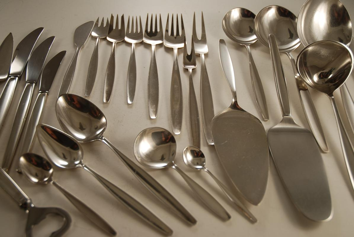 88pc Georg Jensen Sterling Silver Cutlery Set for 6 in Cypress Pattern