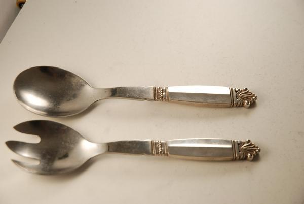 A Silver Flatware Set Of Georg Jensen Salad Servers In The Acanthus Pattern