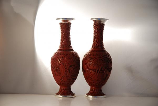 A Pair Of Chinese Silver Cinnabar Vases
